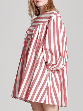 Women Boho Puff Sleeve Striped Print A-Line Mini Dress