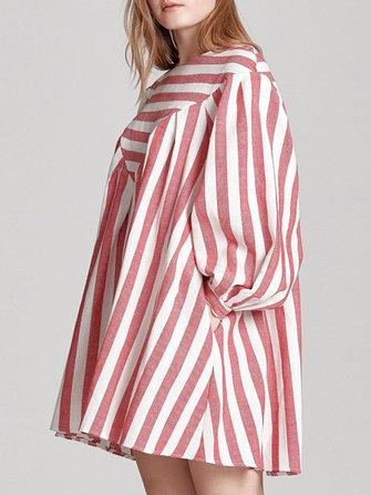 Casual Loose Women Boho Puff Sleeve Striped Print A-Line Mini Dress with Pocket