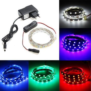 1M Flexible Waterproof 60 LED SMD5050 Strip Light Set with Switch and DC12V Power Adapter