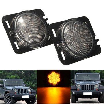 2Pcs Clear Amber Parking Side Marker LED Light Front Fender for Jeep Wrangler JK