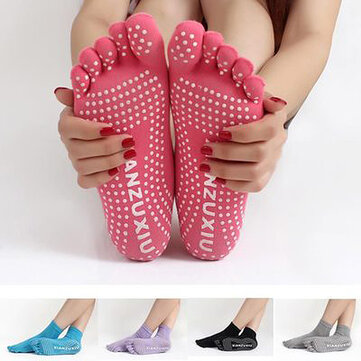Women Colorful Five Finger Toe Yoga Anti Skid Socks Gym Exercise Fitness Sports Pilates Comfortable