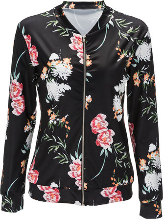 Simplee Cool Stand Collar Floral Bomber Jacket