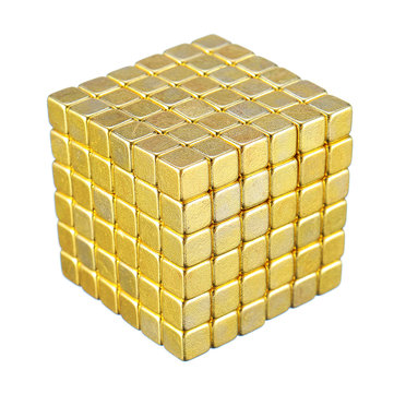 216PCs 5mm Magic Golden Strong Square Buck Ball Creative Imanes Fun Magnetic Toys