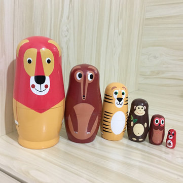 6PCS/Set Wooden Animal Paint Nesting Dolls Decorations Russian Doll Matryoshka Hand Paint Toys Home Decoration Gifts