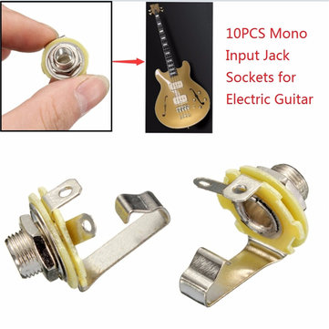 10Pcs 1/4'' 6.35mm Mono Input Jack Socket Electric Guitar Bass Audio Panel Mount