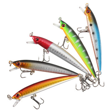 ZANLURE 5pcs 9cm Sinking Fishing Minnow Lures Plastic Baits Crankbaits Tackle with Fishing Hooks