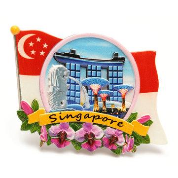 Recuerdo turístico de resina preferido del viaje imán de nevera 3d colorido-Singapur
