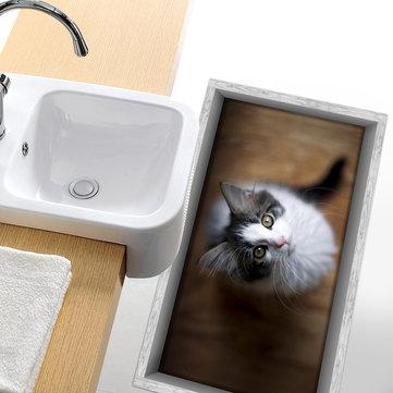 Pag antideslizante 3d adhesivo impermeable piso pequeño baño del patrón del gato ducha lavable decoración de la habitación