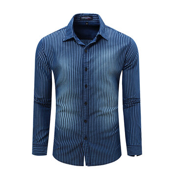 Fashion Mens Denim Cotton Stripe Shirts Casual Turndown Collar Long Sleeve Shirts