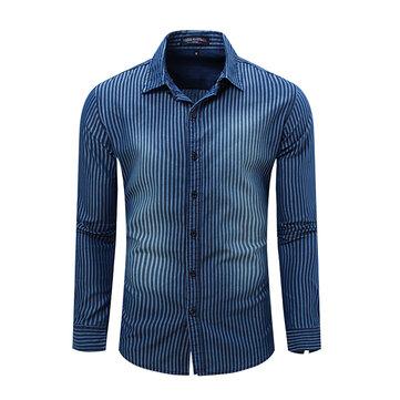 เสื้อผ้าแฟชั่นผู้ชาย Denim Cotton Stripe Casual เสื้อกล้าม Turndown คอยาวเสื้อแขนยาว