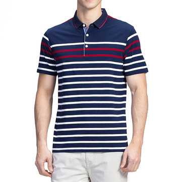 Mens Cotton Color Blocking Stripe Wash and Wear Golf Shirt