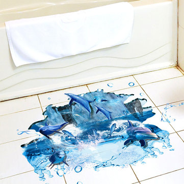 Miico Creative 3D Sea Dolphins Waterproof Removable Home Room Decorative Wall Floor Decor Sticker