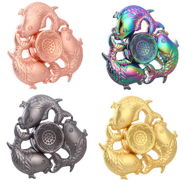 Metal Plating Three Fish Shape Fidget Hand Spinner ADHD Autism Reduce Stress Focus Attention Toys