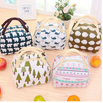 Woman Lady Lunch Tote Bag Travel Picnic Cooler Insulated Handbag Classic Handheld Storage Containers