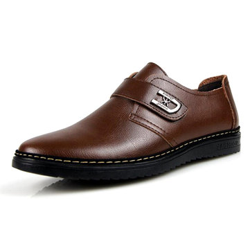 Men Casual Comfortable Soft Genuine Leather Hook Loop Business Oxfords Shoes