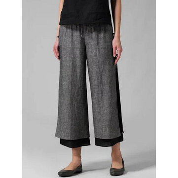 Casual Women Drawstring Waist Layered Wide Leg Pants