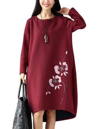 Vintage Printing Long Sleeve Plus Velvet Thick Loose Dress