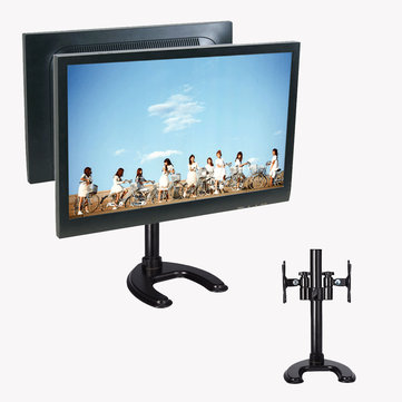 Multi-functional Desktop Base Dual Display Bracket 360° Rotatable Holder For 14-27 inches LCD Screen