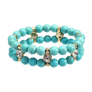 JASSY® Antique Turquoise Beads Rhinestone Stretch Anallergic Bracelet Fine Jewelry for Women