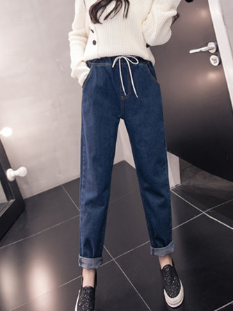 Casual Women High Drawstring Waist Denim Jeans