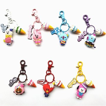 Kpop BT21 Cute 3D Keychain Light Stick Key Ting Bag Pendant Phone Ring Keychain