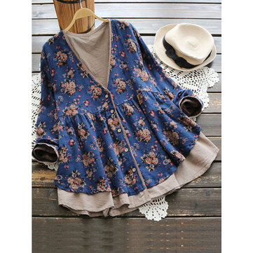 Vintage Women Floral V-Neck Cotton Linen Loose Button Blouse