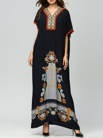 Plus Size Women Bohemian Patchwork Maxi Dress Juniors Plus Size