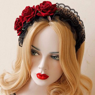 Women Ladies Handmade Lace Black Red Rose Flower Cosplay Headbrand Hair Band