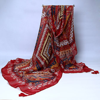Women Ladies Cotton Linen Bohemian Scarves Tassel Warm Long Beach Cover Up Shawls