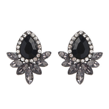 Sweet Drop Rhinestones Women's Crystal Flower Leaf Earrings