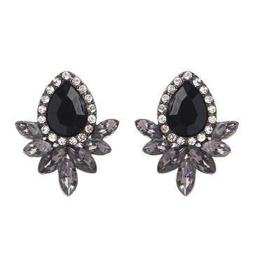 Sweet Drop Rhinestones Women's Crystal Flower Leaf Charm Earrings Jewelry
