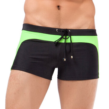 Mens Contrast Color Spa Beach Swimming Shirts Casual Boxers Low Waist Trunks