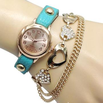 Vintage Heart Pendant Chain PU Leather Band Women Bracelet Watch