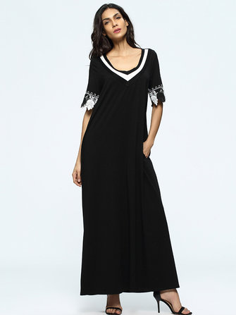 Women Crochet Lace Patchwork Short Sleeve Black Maxi Dresses