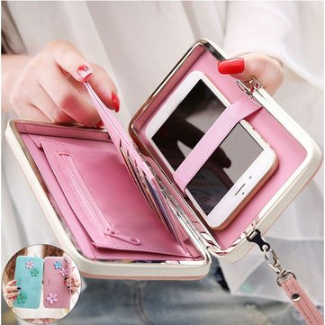 Women Flower 5.5 Inch Phone PU Wallet Case Cover Long Wallet