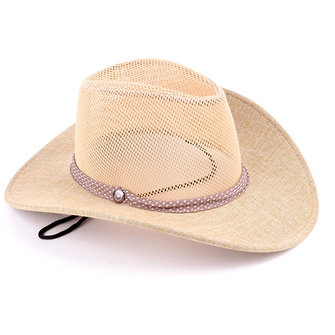 Mens Summer Mesh Breathable Fedora Jazz Hat Outdoor Wide Brim Beach Sun Flax Caps