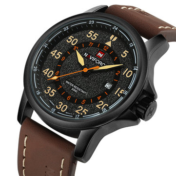 NAVIFORCE NF9076B Date Display Leather Strap Quartz Watches