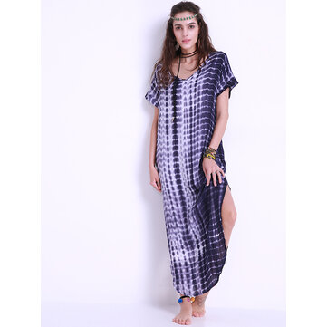 Rayon Women Casual Tie Dye Printed V-Neck Side Split Maxi Dress