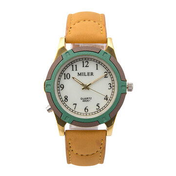MILIER 8261 Fashion Simple Men Women Leather Strap Wrist Quartz Watch