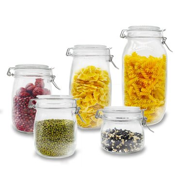 Round Glass Clear Jam Spices Sauce Food Storage Preserve Canisters Clip Top Jars