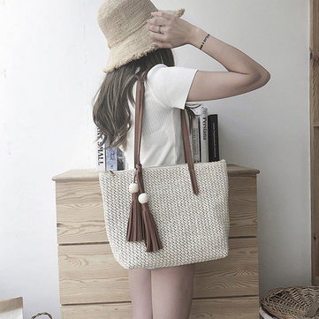 Women Rattan Grass Beach Bag Designer Handbag Travel Shoulder Bag