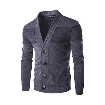 Spring Autumn Lapel Style Sweatshirt Mens Casual Solid Color Knitting V-Neck Sweater