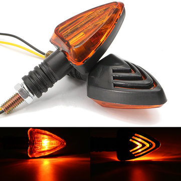 Pair Motorcycle Turn Signal Lights Blinker Street Bike Amber E-Mark Bulb Amber Universal