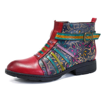 SOCOFY Casual Flower Ankle Boots