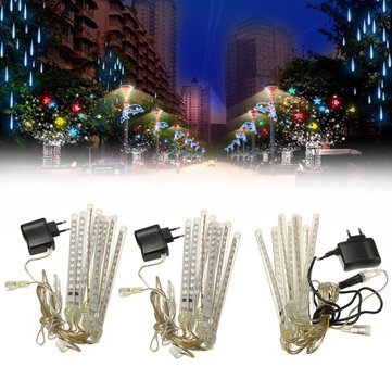 8 Tubes 96LED Meteor Shower Snowfall Star String Light Xmas Tree Wedding Decor