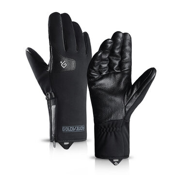 Unisex Winter Thick Velvet Genuine Leather Windproof Waterproof Skiing Sports Casual Gloves