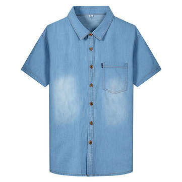 Summer Casual Classic Pocket Short Sleeve Cotton Denim Shirt