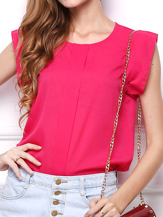 Casual Women Pure Color Sleeveless O-neck Chiffon T-shirts