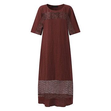 S-5XL 여자 중공업 드레스 순수 컬러 코튼 라인 맥시 드레스