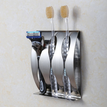 Hoanna TR-051 1PC Stainless Steel Creative Three Position Two Position Wall Mounted Glue Adhesive Toothbrush Holder